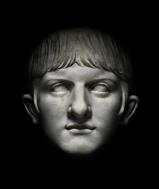 A black and white photograph of a bust of the emperor Nerohe