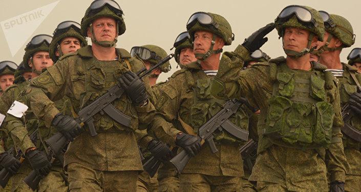 Soldados rusos, foto de archivo