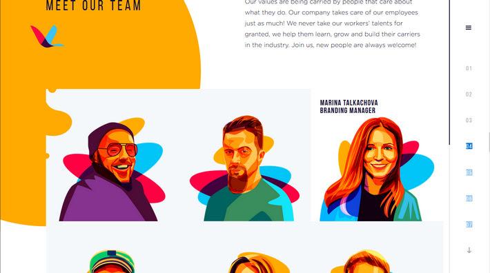 Иллюстрации в веб-дизайне - модный веб-сайт с красивой плоской графикой
