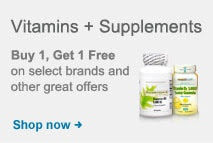 Vitamins + Supplements.  Buy 1, Get 1 Free on select brands and other great offers.  Shop now