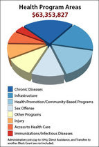 Pie chart showing breakdown of PHHS block grant funding by health program areas