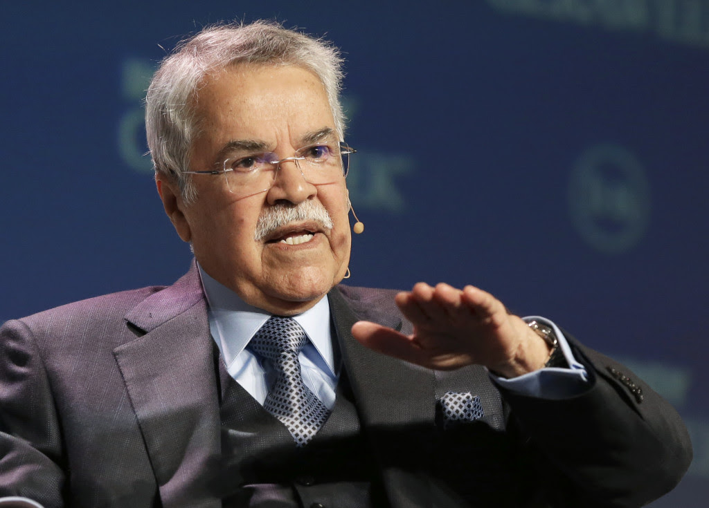 Saudi Arabia's Minister of Petroleum & Mineral Resources Ali Al-Naimi speaks at the annual IHS CERAWeek global energy conference Tuesday, Feb. 23, 2016, in Houston. (AP Photo/Pat Sullivan)