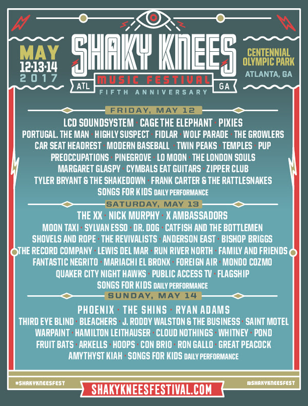 2017 Shaky Knees Lineup By Day