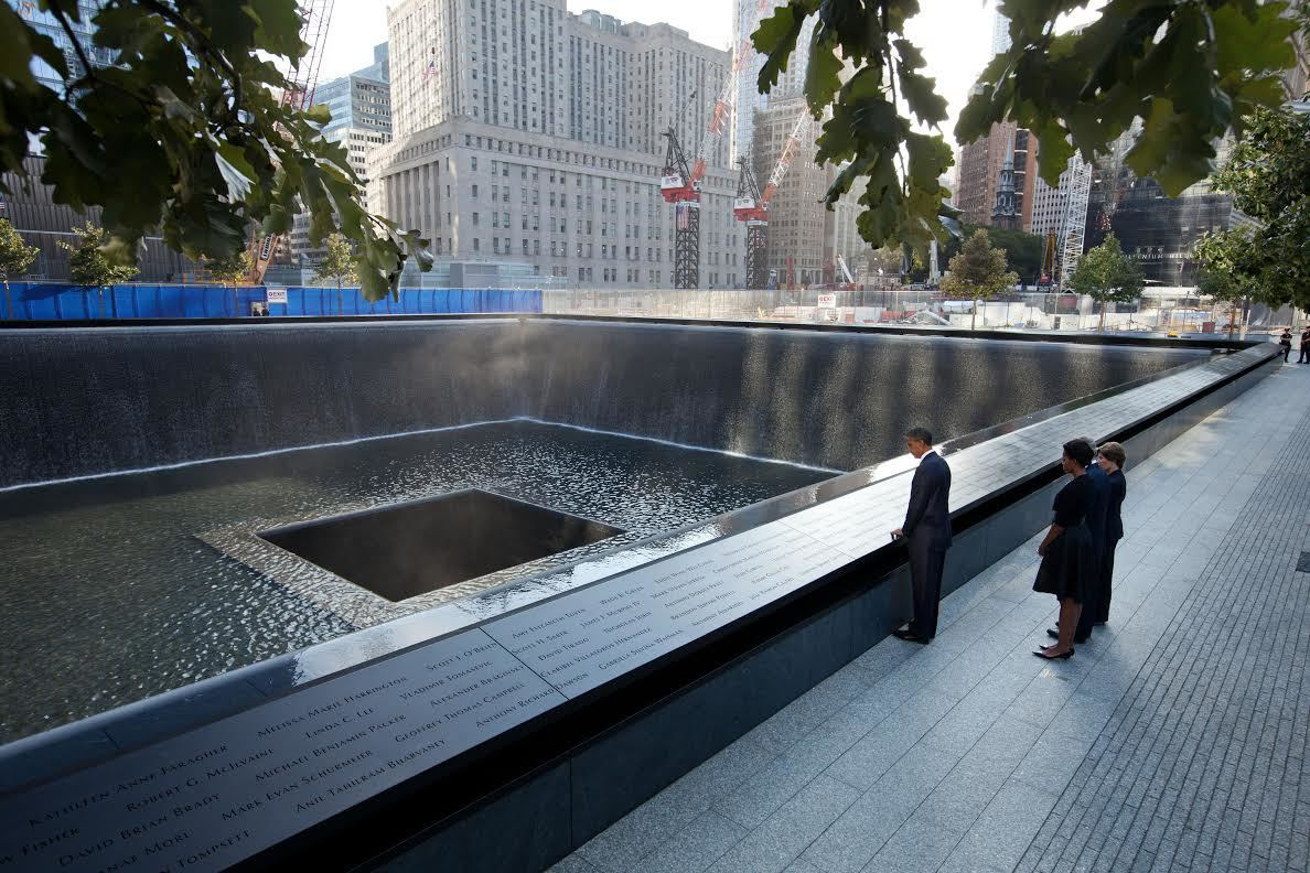 911 image of President Obama over the memorial