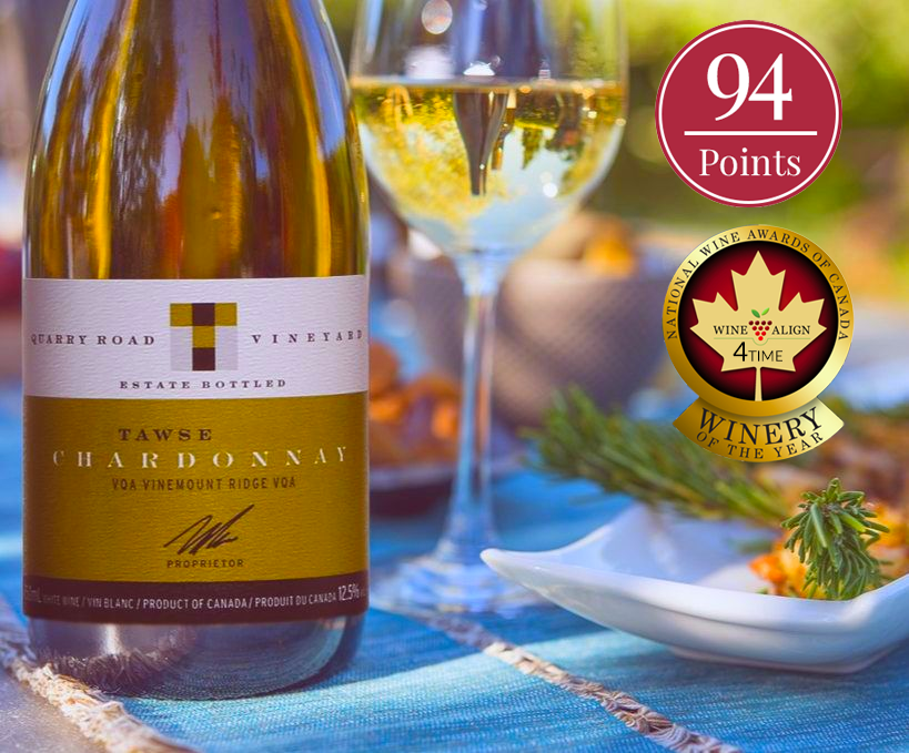 "Bottle of Quarry Road Chardonnay VQA by Tawse Winery 2016 in front of a glass of white wine with the text ""94 points"" and a seal with ""4 Time Winery of the Year"""