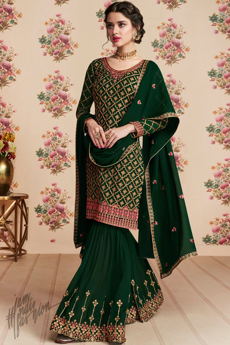 Bottle Green Georgette Party Wear Sharara Suit