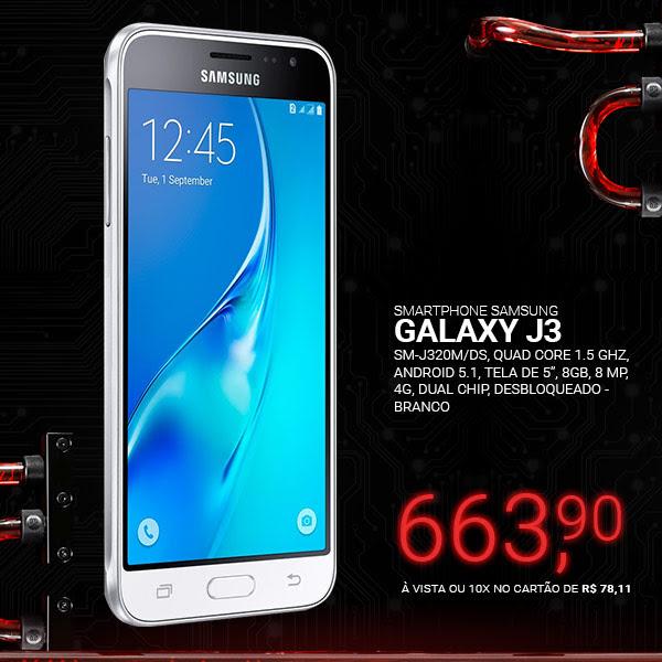 Smartphone Samsung Galaxy J3 SM-J320M/DS, Quad Core 1.5 Ghz, Android 5.1, Tela de 5, 8GB, 8 MP, 4G, Dual Chip, Desbl - Branco