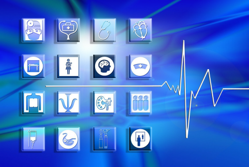 Image showing 16 medical system icons and heart beat line