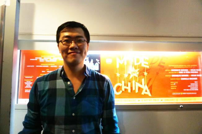 該劇作詞作曲者李喦,攝於外百老匯59E59劇場。(記者王若馨/攝影)