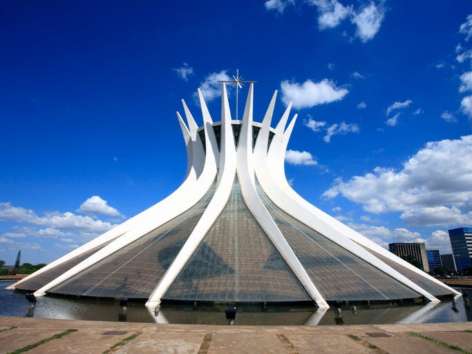 The                                                           Metropolitan                                                           Cathedral of                                                           Our Lady                                                           Aparecida in                                                           Brazil's                                                           capital city,                                                           Brasilia,                                                           looks like a                                                           hyperboloid                                                             with its 16                                                           concrete                                                           columns.