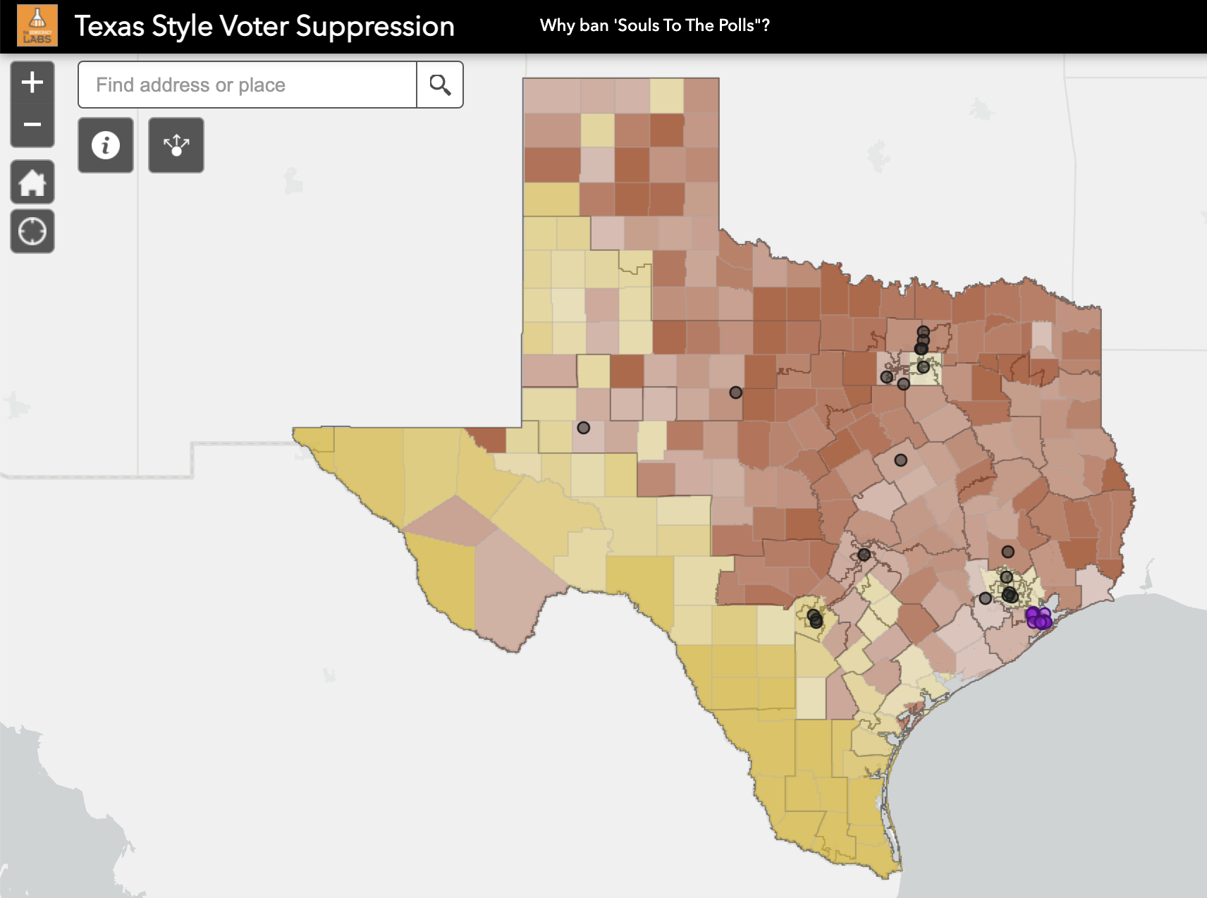 Web App shows Texas voter suppression behind banning Souls To The Polls.
