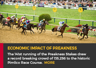 Economic Impact of Preakness - The 141st running of the Preakness Stakes drew a record breaking crowd of 135,256 to the historic Pimlico Race Course. MORE