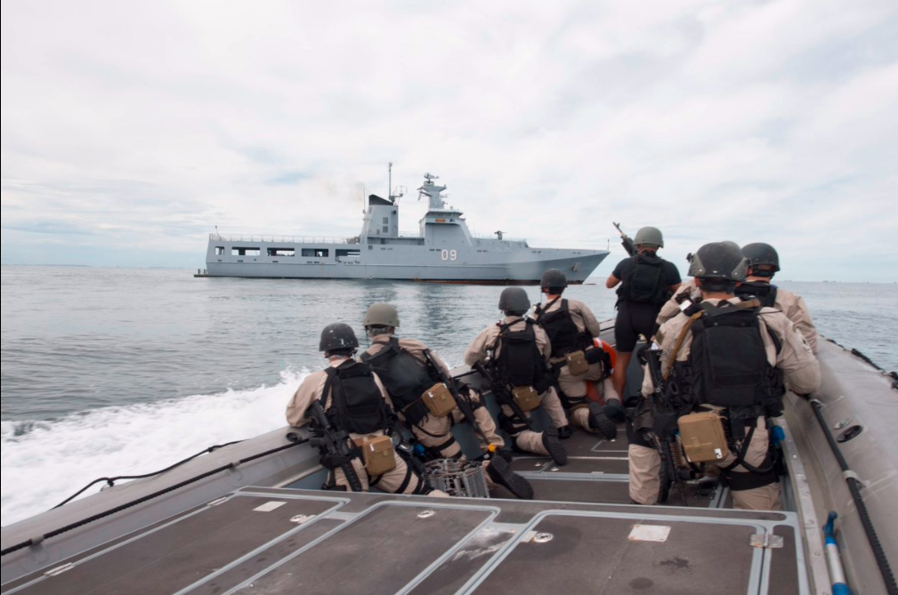 But the key to the US's success in far away waters is allies. The US doesn't do anything alone, if you're noticing a pattern here. Here US and Royal Brueni Navy sailors practice boarding a ship.