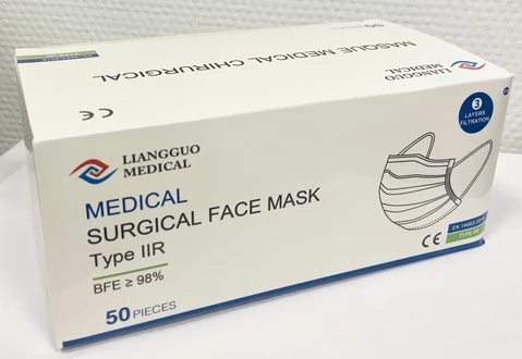 Example of surgical face masks