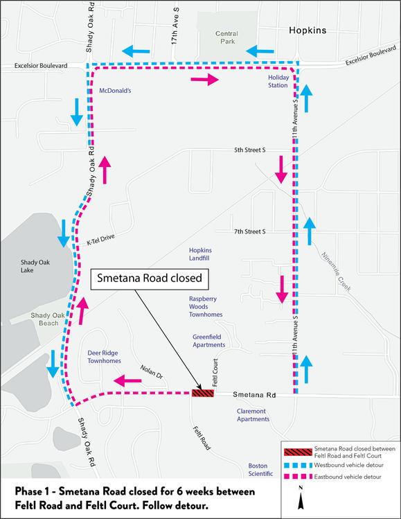 Smetana Rd. in Minnetonka and Hopkins Detour Map