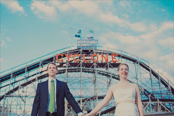 Wedding in front of the Cyclone, back when it was part of Astroland (Coney Island, amusement park, roller coaster)