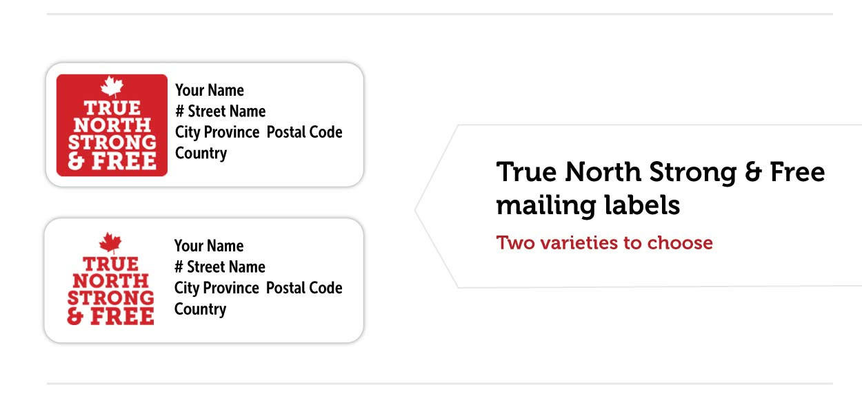 True North Strong & Free mailing labels