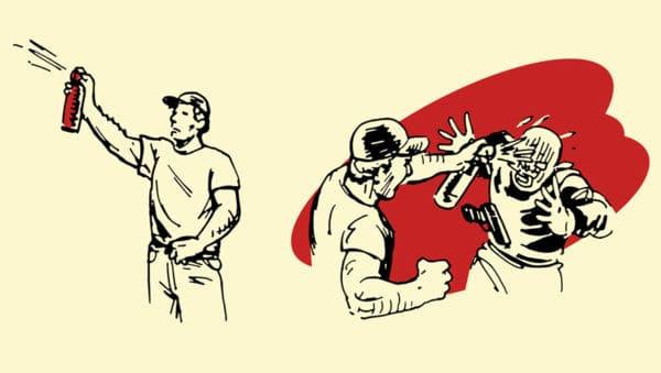 hornet spray improvised weapon self-defense illustration