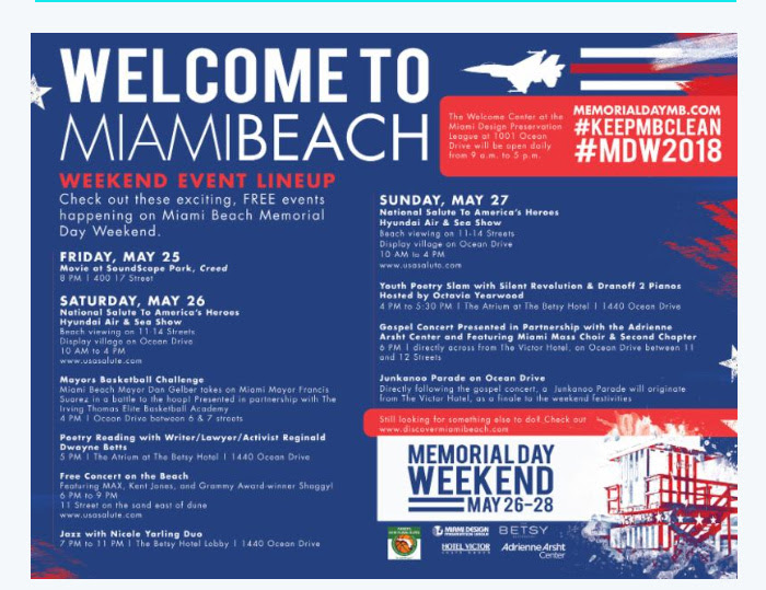 Welcome to Miami Beach Weekend Event Lineup