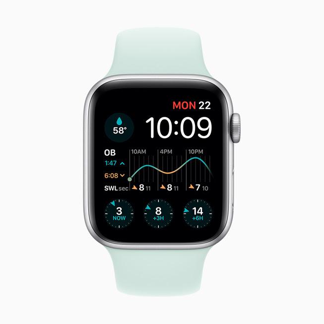 Apple Watch Series 5 螢幕中顯⽰的 Dawn Patrol app。