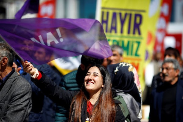 "Pro-Kurdish opposition Peoples' Democratic Party (HDP) and ""Hayir"" (""No"") supporters rally in Istanbul on April 13. (Osman Orsal/Reuters)"