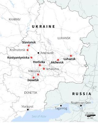 Mapa del este de Ucrania se han hecho fuertes contra el Gobierno de Kiev.