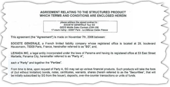 Extrait du contrat liant la Société générale à une société panaméenne, Leinada Inc., véhicule de la corruption, d'après la justice. © DR