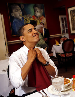 Barack Obama gets set to chow down at Dooky Chase