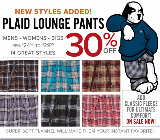 SAVE 30% on Plaid Lounge Pants...