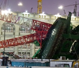 Base of a crane where storms caused a crane to fall in Mecca's Grand Mosque on Friday, September 11, 2015.