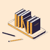 Smart phone with books on top, next to pencils