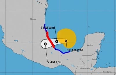 The storm's forecast track as of 10:00am CDT.