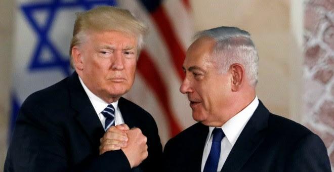 Donald Trump, junto al primer ministro de Israel, Benjamin Netanyahu. - REUTERS