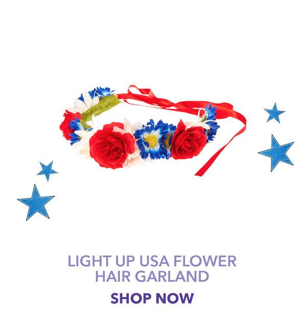 Light up USA Flower Hair Garland