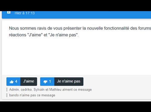 """Nouvelles fonctionnalités du forum : système de Likes avec les réactions """"J'aime"""" et """"Je n'aime pas"""" Like-d10"""