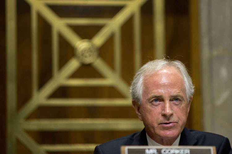 Bob Corker presides over a hearing in May. (Andrew Harrer/Bloomberg)