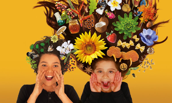 Image of two children with scientific objects in their hair