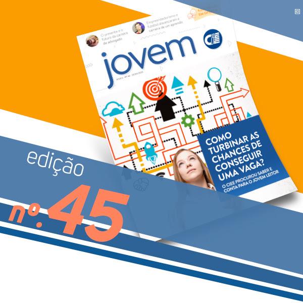 Fundo com faixas coloridas e em destaque a capa da Revista Jovem CIEE número 45