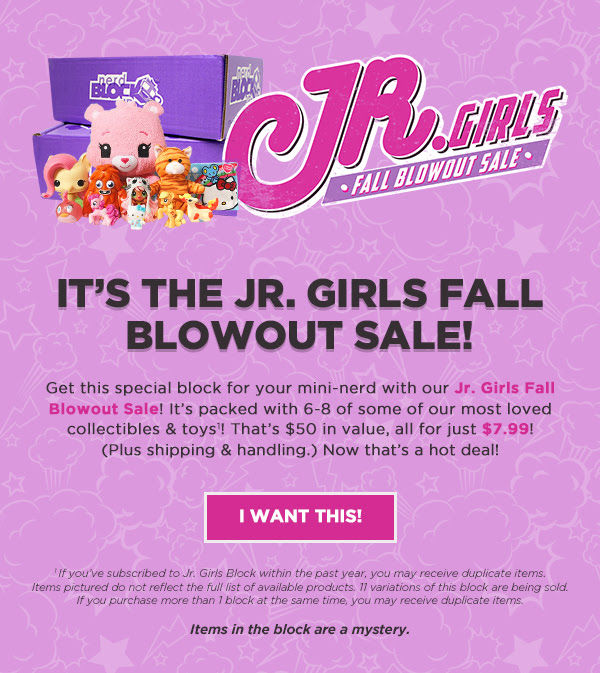 Get 6-8 amazing collectibles for your mini-nerd for just $7.99 (plus shipping & handling) with our Jr. Boys Fall Blowout Sale!