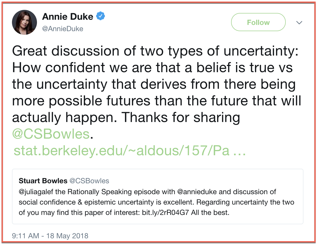 """A Good Framework For Two Kinds of Uncertainty"" - Annie's Newsletter, June 1st, 2018"