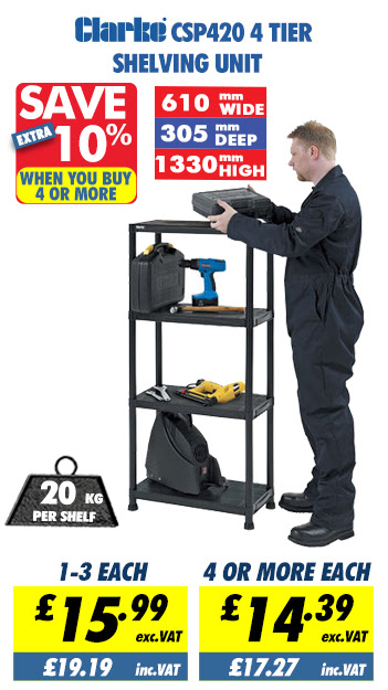 Clarke CSP420 4 Tier Shelving Unit