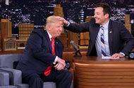 "Donald J. Trump, left, and Jimmy Fallon on NBC's ""The Tonight Show."""