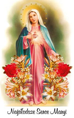 Karta modlitwa - Najsłodsze Serce Maryi 8,5x5,4 cm Dewocjonalia ...