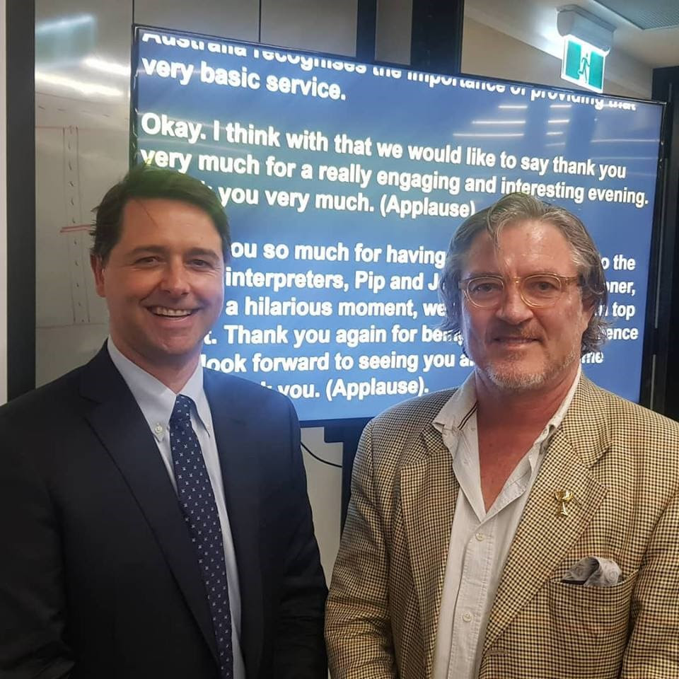 Disability Discrimination Commissioner, Alastair McEwin pictured left and Dignity Party President, Rick Neagle pictured on the right.