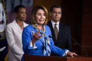 """Nancy Pelosi, the House minority leader, speaking at a news conference on Capitol Hill last month. In a letter on Tuesday, she called the apparent Russian hack into Democratic servers """"an unprecedented assault on the sanctity of our democratic process."""""""