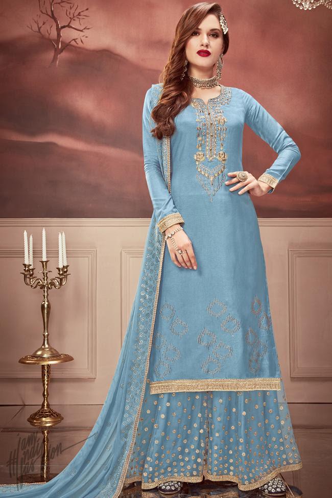 Blue Russian Silk Sharara Suit