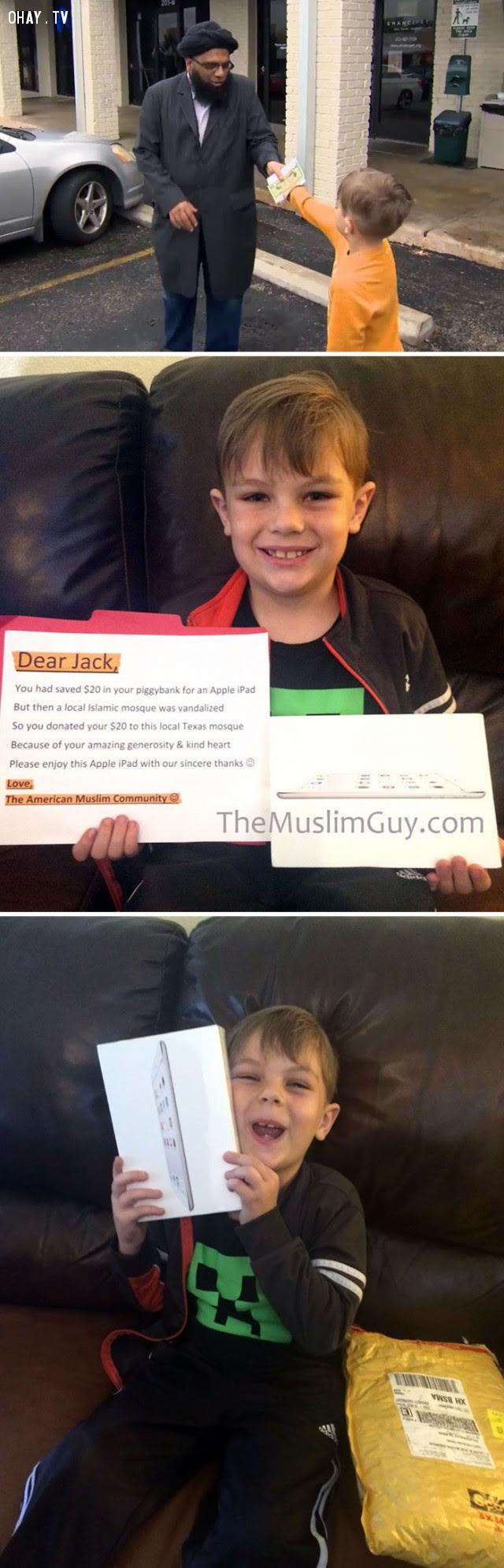 Cậu bé Jack 9 tuổi quyên góp 20 đô-la tiền tiết kiệm mua Ipad cho nhà thờ Hồi giáo bị hư hại. Sau này cậu bé được tặng một chiếc Ipad vì hành động hào hiệp.,Hoa Kỳ,nước mỹ,lòng nhân ái