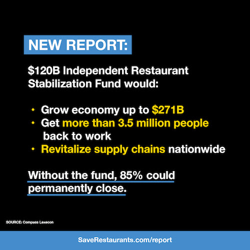 New report: $120B Independent Restaurant Stabilization Fund would jumpstart U.S. economy.
