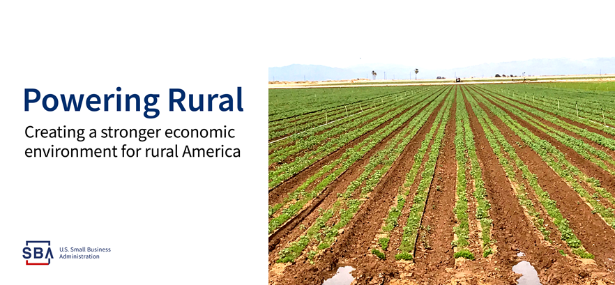 Graphic header: Powering Rural - Creating a stronger economic environment for rural America. With photo of Imperial Valley growing field