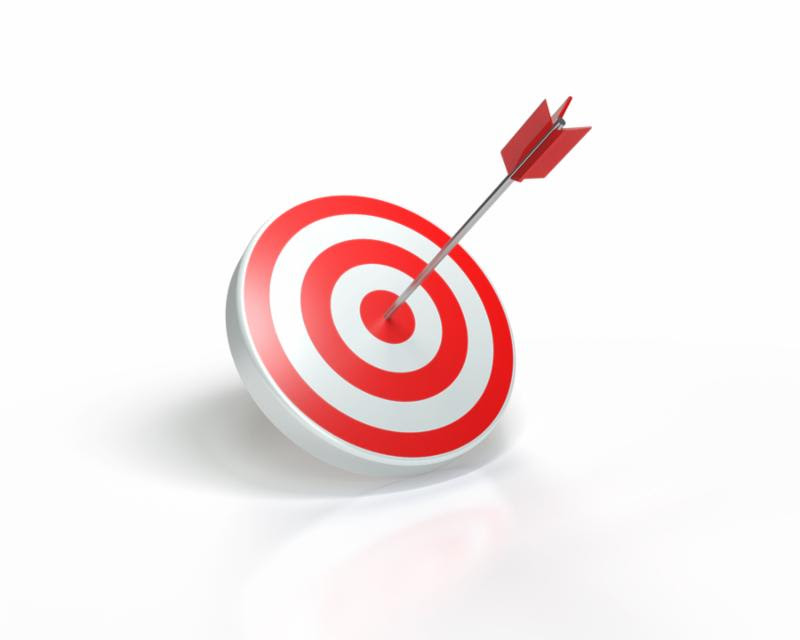 3D rendering of arrow hitting the bullseye red and white .